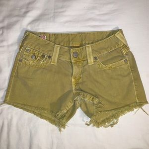 True religion cut off denim shorts